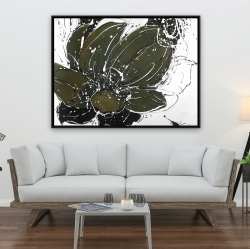 Framed 36 x 48 - Abstract flower with paint splash