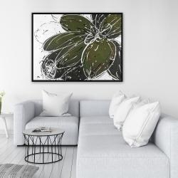 Framed 36 x 48 - Green flower with splash outline