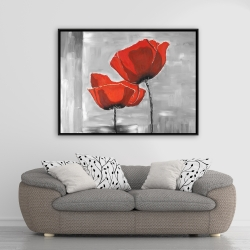 Framed 36 x 48 - Two red flowers on a grayscale background