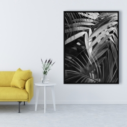 Framed 36 x 48 - Monochrome tropicals leaves