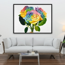 Framed 36 x 48 - Bouquet of rainbow roses