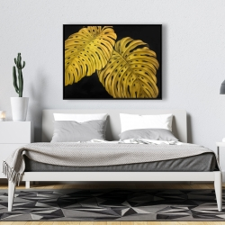 Framed 36 x 48 - Gold monstera