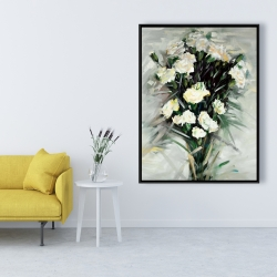 Framed 36 x 48 - Lisianthus white bouquet