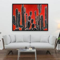 Framed 36 x 48 - Black tall cactus