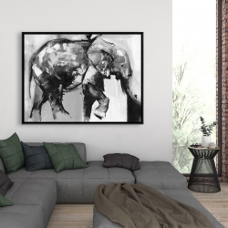 Framed 36 x 48 - Beautiful monochrome elephant