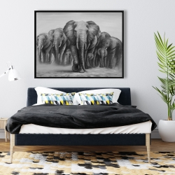 Framed 36 x 48 - Herd of elephants