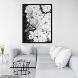 Framed 36 x 48 - Monochrome rose garden
