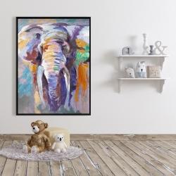 Framed 36 x 48 - Elephant in pastel color