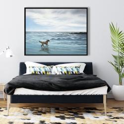 Framed 36 x 48 - Dog on the beach