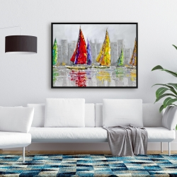 Framed 36 x 48 - Sailboats in the wind