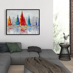 Framed 36 x 48 - Colorful boats near a gray city