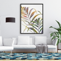 Framed 36 x 48 - Watercolor tropical palm leaves