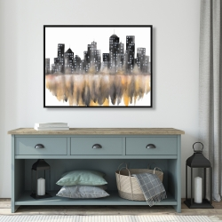 Framed 36 x 48 - Yellow watercolor cityscape