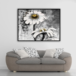 Framed 36 x 48 - Abstract daisies flowers