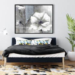 Framed 36 x 48 - Monochrome and silver flowers
