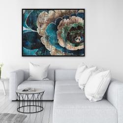 Framed 36 x 48 - Blue flower montage