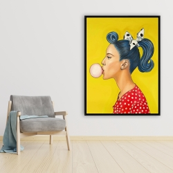 Framed 36 x 48 - Retro woman with beautiful ponytail