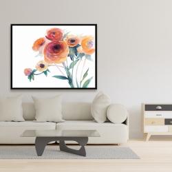Framed 36 x 48 - Watercolor flowers