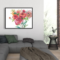 Framed 36 x 48 - Watercolor bouquet of flowers