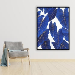 Framed 36 x 48 - Tropical abstract blue leaves