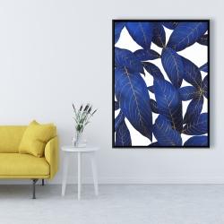 Framed 36 x 48 - Abstract modern blue leaves