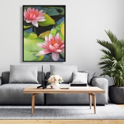 Framed 36 x 48 - Water lilies and lotus flowers