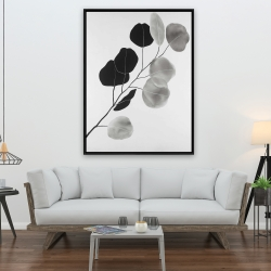 Framed 36 x 48 - Grayscale branch with round shape leaves