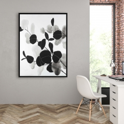 Framed 36 x 48 - Grayscale branches with leaves