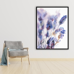 Framed 36 x 48 - Watercolor lavender flowers with blur effect