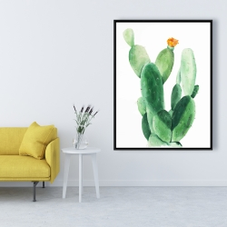 Framed 36 x 48 - Watercolor paddle cactus with flower