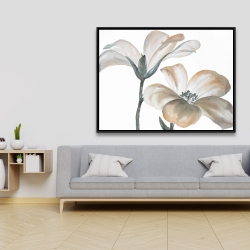 Framed 36 x 48 - Beautiful desaturated flowers