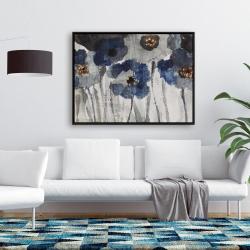Framed 36 x 48 - Blue blurry flowers