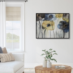 Framed 36 x 48 - Gray blue and yellow flowers