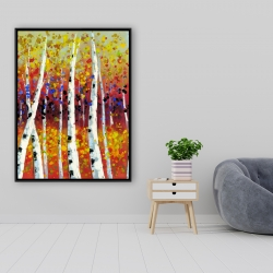 Framed 36 x 48 - Colored birches