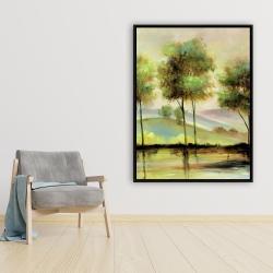 Framed 36 x 48 - Trees near the lake