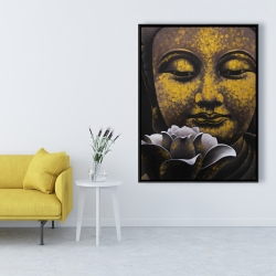 Framed 36 x 48 - The eternal smile of buddha and his lotus