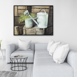 Framed 36 x 48 - Vintage watering can