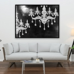 Framed 36 x 48 - White chandeliers