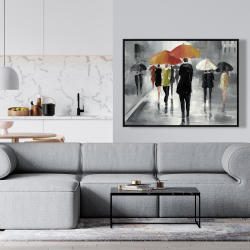 Framed 36 x 48 - Street scene with umbrellas