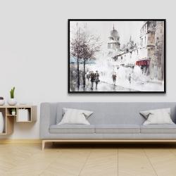 Framed 36 x 48 - Gray city street