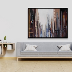 Framed 36 x 48 - Abstract buildings