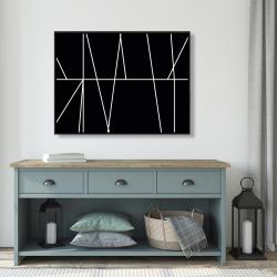 Framed 36 x 48 - White stripes on black background