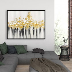 Framed 36 x 48 - Abstract gold flowers