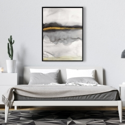 Framed 36 x 48 - Gold stripe abstract