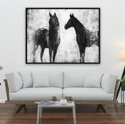 Framed 36 x 48 - Black and white horses