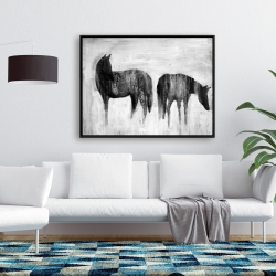 Framed 36 x 48 - Horses silhouettes in the mist