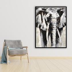 Framed 36 x 48 - Grayscale elephant