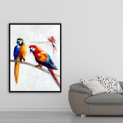 Framed 36 x 48 - Parrots on a branch