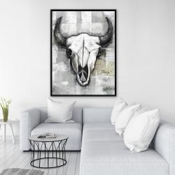 Framed 36 x 48 - Industrial style bull skull