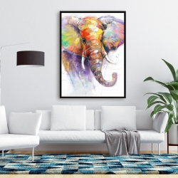 Framed 36 x 48 - Beautiful and colorful elephant